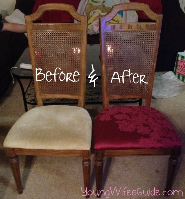 recover old chairs - for less than $5 - young wife's guide