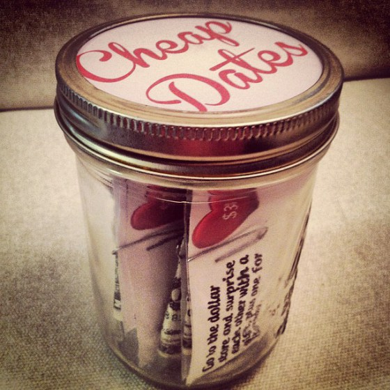 A jar of cheap dates for Valentine's Day