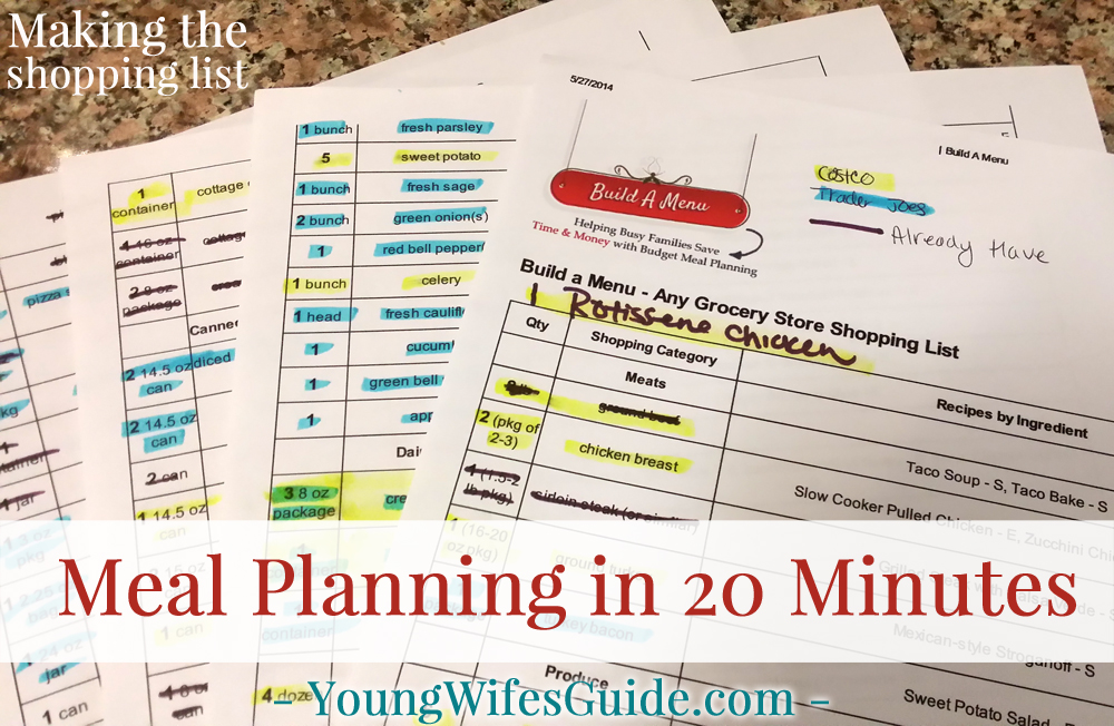 Meal Planning in 20 Minutes - Making the Shopping List