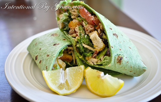 20 Minute meal: chicken caeser wrap! yuuum!