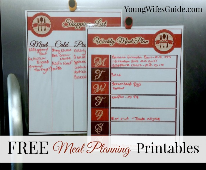 Free Meal Planning Sheets