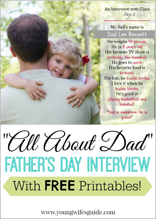 father's day interview with free printables