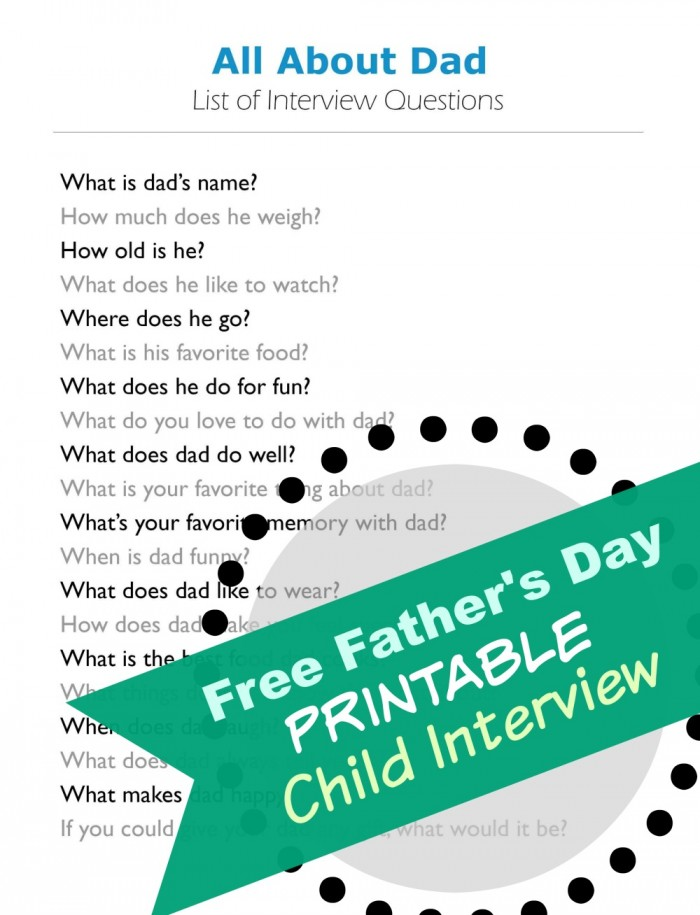interview questions FREE Printable
