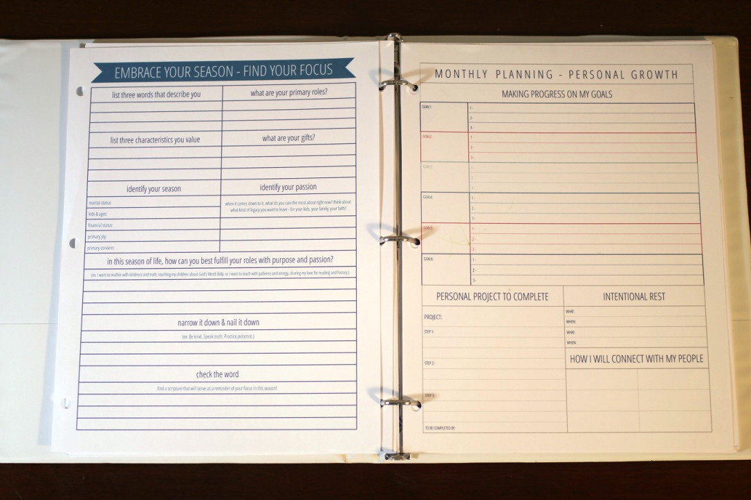 The Organized Life Planner - goal setting